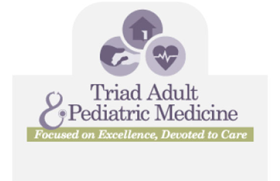 Logo for Triad Adult & Pediatric Medicine - Motto: Focused on Excellence, Devoted to Care